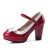 Kncokar våren tjocka kvinnors skor med rund huvudöverdimensionerad storlek som matchar bow-tie singel 34-48 210610 409k