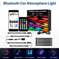 Car RGB LED Bluetooth Atmosphere Light Strap for Auto Front and Back Seats Foot Adjustable Colorful Lights Interior Decorative Music Lamp