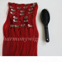 160g 20 22inch Clip in Hair Extensions Brazilian hair Red color Remy Straight Hair weaves 10pcs set free comb