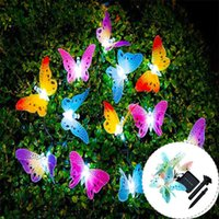 Solar Lamps 12 Led Powered Butterfly Fiber Optic Fairy String Lights Waterproof Christmas Outdoor Garden Holiday Decoration