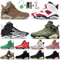 Travis Scott x Nike Air Jordan 6 Retro 6 6s British Khaki 2021 Jumpman Zapatillas de baloncesto para hombre Carmine Tech Chrome Black Infrared Hare DMP Gatorade Sneakers