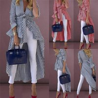 Women's Trench Coats Stripe Shirts Long Sleeve V-neck Loose Tops With Belt Front Dip Hem Shirt Blouse Striped Tied High Street Women