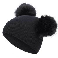 Children's Knitted Cap Super Large Double Ball Wool Cap Baby Infant Toddler Baby Girls Boys Warm Winter Hat 591 Y2