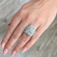 Hochzeit Ringe Charme Weibliche Weiße Kristall Stein Ring Set Luxus Große Silber Farbe Für Frauen Vintage Braut Quadrat Engagement