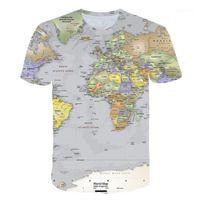 Tişörtleri Mürettebat Boyun Kazak Kısa Kollu Mens Yaz Kontrast Renk Giyim Erkek Dünya Haritası 3D Baskılı Tasarımcı