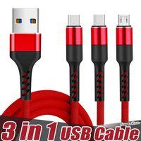 3 em 1 Superfast Carregamento Micro USB Cabos 3A Tipo C Rápido Carregador para telefones celulares
