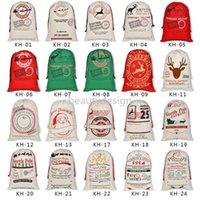 Canvas Christmas Santas Bag Large Drawstring Candy Claus Bags Xmas Gift Santa Sacks For Festival Decoration DD