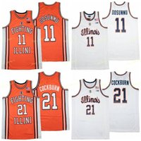NCAA Illinois Mücadele Illini Koleji Basketbol 21 Kofi Cockburn Jersey Erkekler 11 Ayo Dosunmu Üniversitesi Nefes Saf Pamuk Beyaz Uzakta