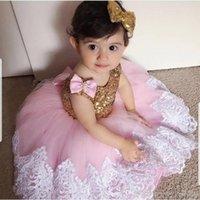 Kızın Elbiseleri Kabarık Pembe Kız Balo Tül Çiçek Bebek Vaftiz İlk Communion Elbise Yay Düğüm Floweer Düğün