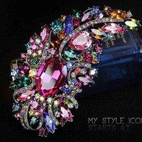 متعدد الألوان 5 بوصة حجر الراين ضخمة الحجم أنيقة الفاخرة الكريستال الماس هدية كبيرة بروش 10 ألوان availa