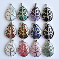 Fashion Waterdrop Tree Pierre Charme Pendentif cristal de guérison à la main pour les pendentifs de bijoux Collier Faire en gros