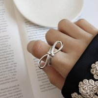 Cluster Rings 925 Sterling Silver Pretty Bridesmaid Forget Me Knot Wire Butterfly Bow Ring White Gold Color Birthday Gift Bijoux Anel