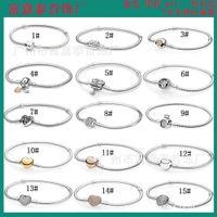 Link Panjia S925 الفضة الكلاسيكية الأساسية جولة التاج كامل الماس الحب شجرة الأسرة شكل قلب سوار ثعبان العظام سلسلة