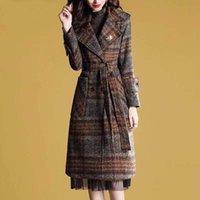 Kadın Kafes Yün Ceket Sonbahar Kışlık Bouble Göğüslü Dış Giyim Kadın Yün Palto Ceket Pamuk Karışımları Ekleyin