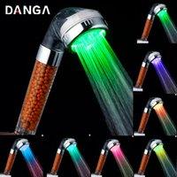 Tête de douche de couleur Température LED Température Robinet Robinet de salle de bains Eau Anion Filtre Douche Ensembles