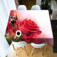 الجدول القماش 3D للتخصيص الأحمر والأصفر ارتفع زهرة نمط الغبار قابل للغسل مستطيل جولة