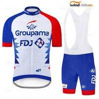 Pro Takım Gruplama FDJ Bisiklet Formaları Bisiklet Maillot Nefes Ropa Ciclismo MTB Kısa Kollu Bisiklet Bezi Önlük Şort Yarış Setleri