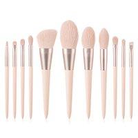 11pcs Pink Makeup Brush Foundation Blending Concealer Eye Face Lip Brushes For Powder Liquid Cream Complete Blush Tools