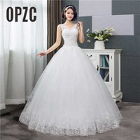 Cheap Korean Style V-Neck Lace Tank Sleeveless Floral Print Ball Gown Wedding Dress 2021 New Fashion Simple estidos de noivas CC A0602