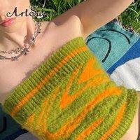 Women's Tanks & Camis Printed Knitted Boob Tube Top Women Green Summer Strapless Bralette Corset Crop Casual Bustier Bra Streetwear TS