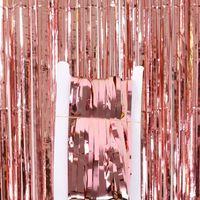 1 * 2 M Metalik Folyo Fringe Pırıltılı Backdrop Düğün Duvar Fotoğraf Booth Backdrop Tinsel Glitter Perde Altın Parti Dekorasyon CCF6125