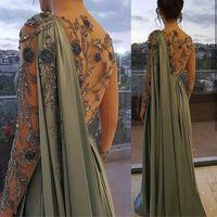Arabo Abito da sera musulmano verde oliva arabo con maniche lunghe Dubai Dubai Donne abiti da festa Abiti eleganti Plus Size