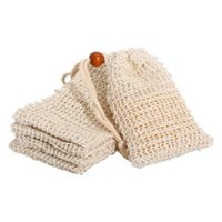 Soft Natural Sisal Soap Saver Bags Hand Made Exfoliating Mesh Net Pouch Bag with Drawstring For Foaming and Drying Soap, Bath Shower Use