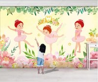 3d wallpaper on the wall custom photo mural Hand painted crown ballet girl watercolor flowers leaves children's room home decor living room wallpaper for walls 3 d