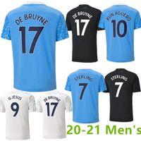 Mavi Ay 2021 Futbol Forması 20-21 Şehir G. İsa Sterling Ferran de Bruyne Kun Aguero Futbol Gömlek Üniforma Erkekler