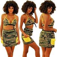 Mulher verão roupas sexy sutiã top + saia curta terno casual vestido roupas praia lazer moda camuflagem dois pedaço conjunto gg40y55