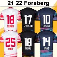 21 22 Camisas de futebol masculina de FORSBERG KLOSTERMANN RBL SABITZER POULSEN HALSTENBERG OLMO ADAMS HEE CHAN LAIMER Casa Fora 3ª Camisa de Futebol