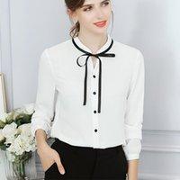 Faylisvow Herbst Tops Office Damen Bluse Button Langarm Fliege Damen und Blusen Weibliche Slim Basic Rosa Weißes Hemd Damenhemden