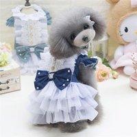 Köpek Giyim Denim Elbise Fırfır Tül Tutu Elbiseler Boncuk Sundress Küçük / Orta Evcil Teddy Köpekler Kediler Doğum Günü Düğün Yay Ile Örgün