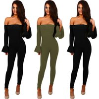 Siyah Kapalı Omuz Seksi Bodysuit Kadınlar Uzun Kollu Ince Çan Kollu Tulum Bodycon Tulum Bayan Tulum Katı Vücut Suit