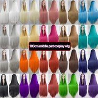 Synthetic Wigs DIANQI 100cm Long Straight Cosplay Brown Orange Blue Pink Middle Part For Women Daily Use