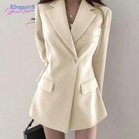Women's Suits & Blazers 2021 Fashion Long Suit Blazer Women Jacket Notched Coat Office Lady Business Work Wear Formal Outwear With Pockets A