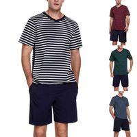 Men's Tracksuits 2021 Summer Cotton Pyjamas Spring Casual Pajamas With Stripe Shorts For Men Pajama Sets Comfortable Cool Sleepwear