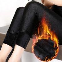Sıcak Sonbahar Kış Moda Artı Bayan Legging Kadife Ince Kalın Pantolon Lady Polar Rahat Siyah Parlak Yüksek Bel