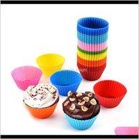 Cucina, Sala da pranzo Casa Casa Giardino Drop Consegna 2021 Sile Muffin Cupcake Stampi Torta colorata Forma rotonda Bakeware Stampo Caso di muffa della tazza di cottura