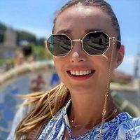 Retro Alaşım Çokgen Yuvarlak Güneş Kadın Erkek Marka Tasarımcısı Küçük Punk Güneş Gözlükleri V Zincir İpi ile Shades