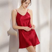 New 100% Natural silk gecelik slip nuisette women nightwear sexy sleepwear satin night dress pijamas nightgown night gown nighty
