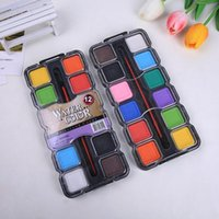Gift Sets 12 Color Solid Square Powder Cake Watercolor Paint For Children And Students Drawing Can Be Washed Art Supplies CN(Origin)
