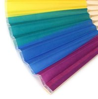 New Arrival Chinese Style Colorful Rainbow Folding Hand Fan Party Favors Wedding Souvenirs Giveaway For Guest LLD10584