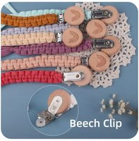 New rainbow DIY weave pacifier clips for baby wood Beaded Soother Holder Clip Chain Nipple Teether Dummy Strap