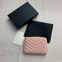 Designers malas luxurys monogramas compact zip em torno da carteira Grão de Poudre Embossed couro moda senhora mini bolsa preto rosa mulheres carteiras com caixa