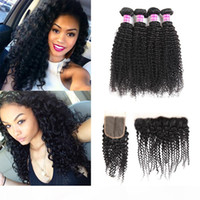 Superior Supplier Brazilian Virgin Hair Vendors Kinky Curly Human Hair Weave Bundles With Lace Frontal Closure Hair Extensions Wefts For You