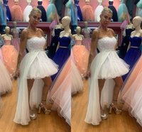 2021 White High Low Prom Dresses Strapless Tulle Chiffon Overskirt A Line Beaded Lace Applique Custom Made Cocktail Party Evening Gown vestidos