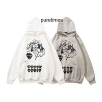 Designer Trendy Fashion 2021 Autumn Winter New Brand Human Made Co Branded Cartoon Printed Men's and Women's Hooded Plush Sweater