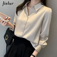 Women's Blouses & Shirts Spring Blouse Turn-down Collar Female Basic Shirt Woman Long Sleeve Vintage Office Lady Workwear Simple Tops