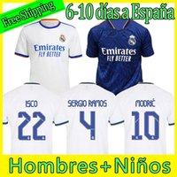 22 22 Real Madrid Человеческая раса коллекция футбол Джетки Valverde Rodrgo Camiseta 2021 2022 Blue Vini Футбол футболка Детское оборудование Униформа мужской костюм